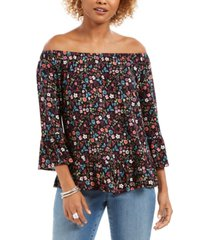 style & co off-the-shoulder printed top, created for macy's