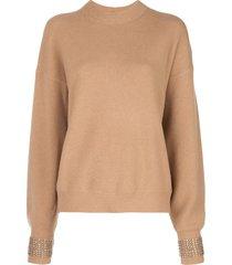 alexander wang embellished-cuff oversized sweater - neutrals