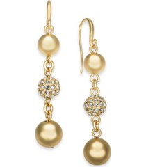 charter club gold-tone pave fireball & bead drop earrings, created for macy's