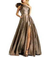 mac duggal one-shoulder metallic ball gown