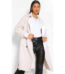 faux fur teddy trench coat, crème
