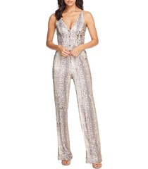 women's dress the population charlie python print sequin jumpsuit, size large - grey