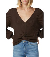 hudson jeans hudson knotted cotton sweater, size large in chocolate at nordstrom