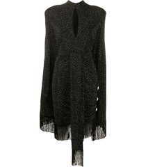 balmain crystal-studded fringe dress - black