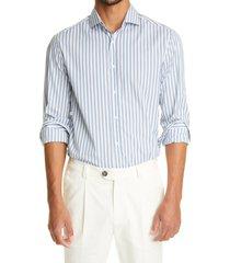 brunello cucinelli basic fit stripe cotton button-up shirt, size medium in blue at nordstrom