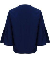 blusa unicolor manga campana color azul, talla 6