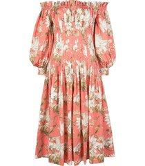 sorbet floral off-the-shoulder dress