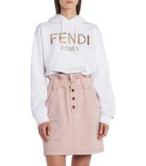 women's fendi floral logo crop drawstring hoodie, size medium - white