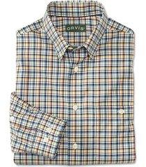 hidden-button-down wrinkle-free cotton twill shirt / regular, blue/melon, small
