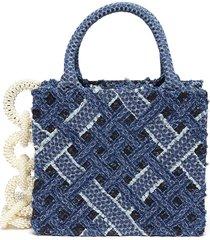 pearl chain lace denim trim small tote