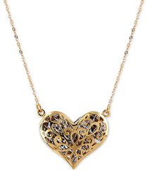 "two-tone puff heart 17"" pendant necklace in 14k gold & rhodium-plate"