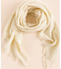 women's katherine frayed edge scarf in ivory by francesca's - size: one size