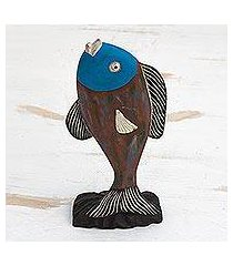 wood sculpture, 'opportunistic fish' (ghana)