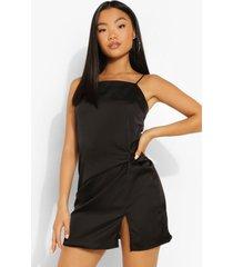 petite gedraaide satijnen mini jurk, black