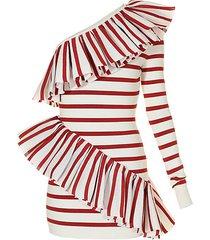 one-shoulder stripe ruffle dress