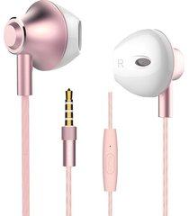 audífonos manos llibres, m420 bajos estéreos del metal auriculares internos con el control del alambre mic 3.5mm auriculares manos libres para el teléfono (oro de rose)