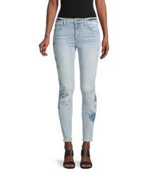 driftwood women's floral embroidery ankle skinny jeans - light wash - size 25 (2)
