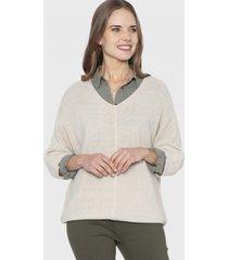 sweater cuello v lurex beige curvi