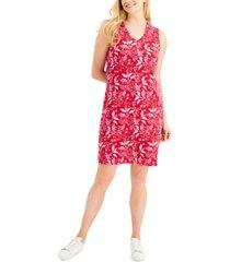 karen scott petal bunches printed v-neck dress, created for macy's