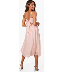 chiffon tie back midi skater bridesmaid dress, nude