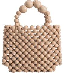 melie bianco fiji wooden mini tote bag