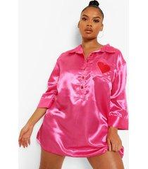 plus satijnen geborduurde hartjes pyjama blouse, hot pink