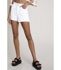 short de sarja feminino com barra desfiada off white