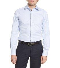 men's david donahue trim fit plaid dress shirt, size 17 - 34/35 - blue