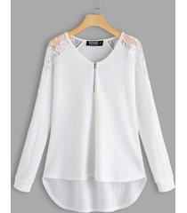 detalles de encaje blanco camisetas lisas de manga larga con cuello en v