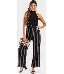 cassandra high neck stripe jumpsuit - black