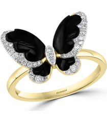 effy diamond (1/5 ct. t.w.) & onyx (3-1/2-4-1/2) butterfly statement ring in 14k gold