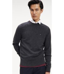 sweater slim lambswool gráfito tommy hilfiger