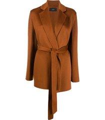 joseph short belted coat - brown