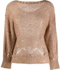 snobby sheep sequin-embellished boat neck sweater - brown