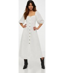 glamorous half sleeve button midi dress klänningar