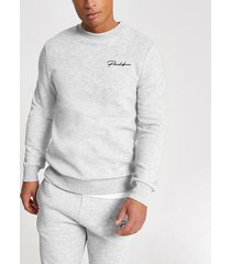 river island mens prolific grey muscle fit sweatshirt