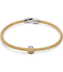 alor women's two-tone stainless steel, 18k yellow gold & citrine bracelet