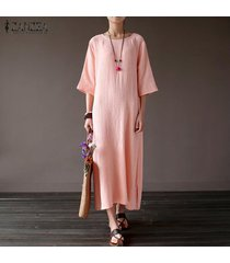 zanzea las mujeres de manga corta floja holgada vestido de tirantes kaftan más el tamaño de vestido largo -rosado