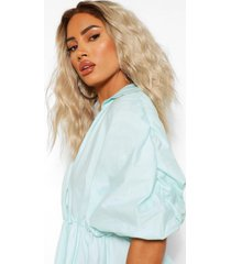 cotton poplin wrap peplum shirt, aqua