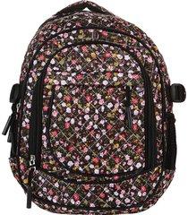 mochila negra trendy 8211 flores