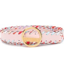 emilio pucci whipstitched leather belt - pink