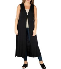 24seven comfort apparel women's plus size cardigan duster vest