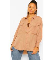 geweven blouse met borstopdruk, stone