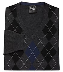 traveler collection tailored fit washable merino wool argyle men's sweater clearance