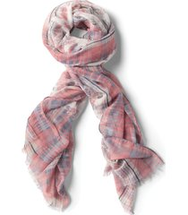 soft ombre floral and plaid scarf