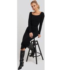 na-kd square neck long sleeve ribbed midi dress - black