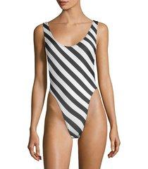 norma kamali women's diagonal striped one-piece swimsuit - stripe - size xs