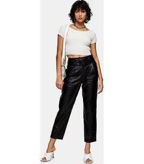 *black leather peg pants - black