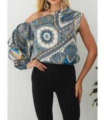 elegante estampado de cachemira one blusa con mangas abullonadas en los hombros