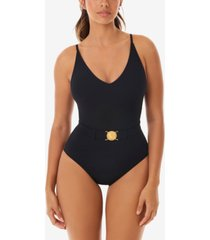 skinny dippers simba lucky charm belted medallion tummy control one-piece swimsuit women's swimsuit